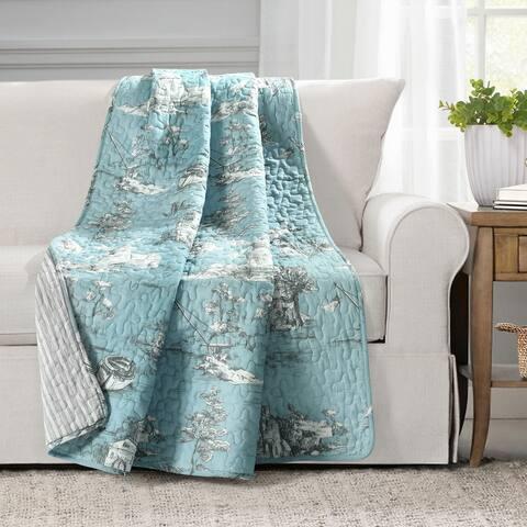 Lush Decor French Country Toile Cotton Reversible Throw Blanket