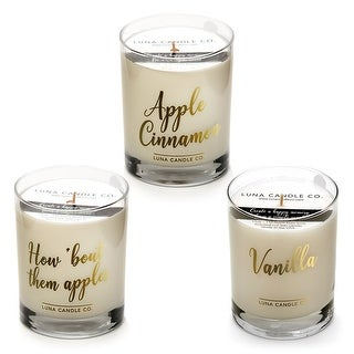 Apple Cinnamon and Vanilla Jar Candle Gift Set, Soy Wax (Set of 3)