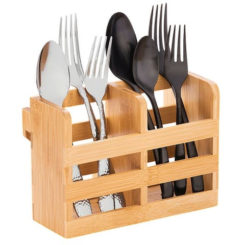 Bamboo Utensil Dryer Holder with Hooks, Attachable to the Dish Dryer Rack - Beige