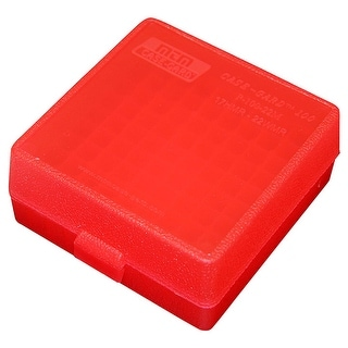 MTM Ammo Box 100 Round Flip Top For 22 Mag 17 HMR Clear Red