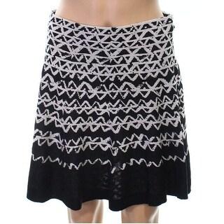 Nic+Zoe NEW Black Womens Size Medium PM Petite Mini Geo Print Skirt