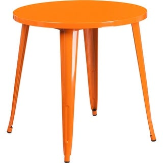 Brimmes Round 30'' Orange Metal Table for Patio/Bar