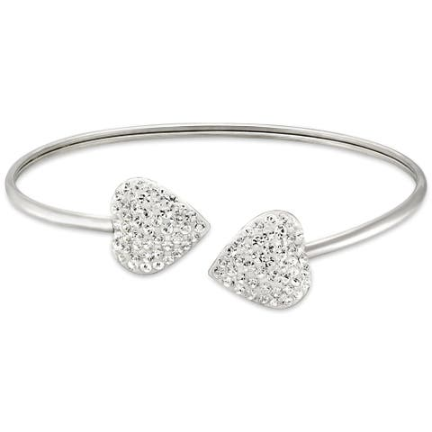 Forever Last Sterling silver Open Bangle With Crystal Heart Ends
