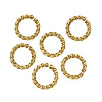 Nunn Design Antiqued 24kt Gold Plated Open Jump Rings Twist 11.5mm 14 Gauge (10)