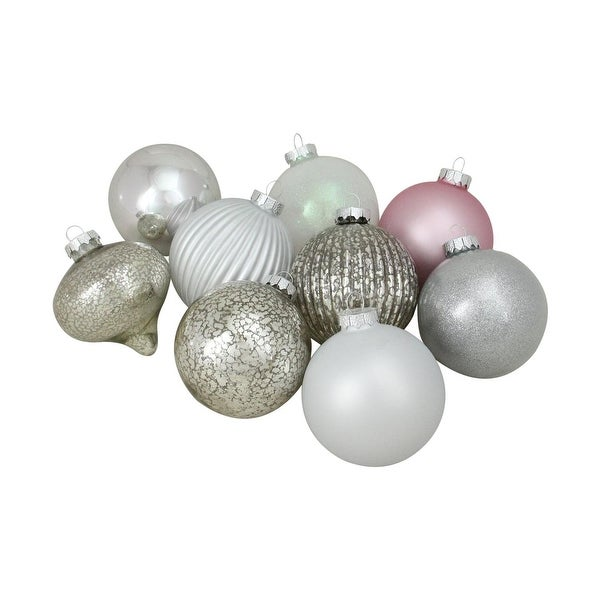 "9ct Silver and Pink Multi-Finish Ball and Onion Shaped Christmas Ornaments 4"" (100mm)"