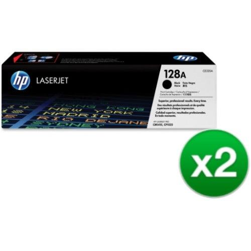 HP 128A Black Original LaserJet Toner Cartridges (CE320A)(2-Pack)