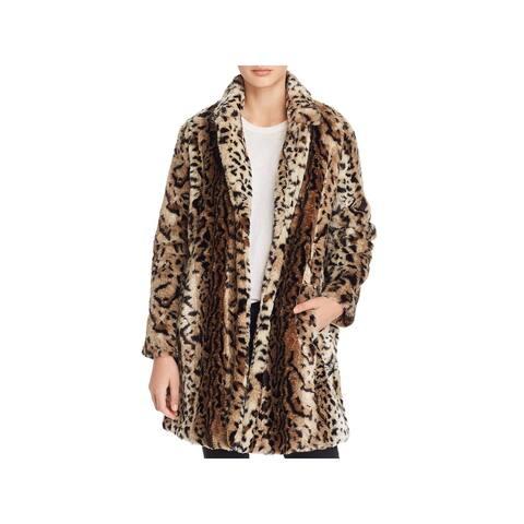 BB Dakota Womens Coat Faux Fur Winter - Brown - S