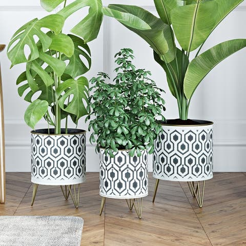 Andrey Black/White Hexagonal Cylindrical Planters (Set of 3) - N/A