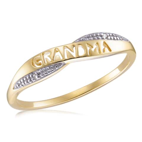 """Forever Last 10kt YG """"GRANDMA"""" ring with diamond accent"""
