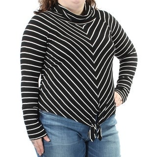 Womens Black White Striped Long Sleeve Cowl Neck Casual Top Size XXL
