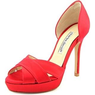 Charles David Seduc Women Open Toe Canvas Red Platform Heel