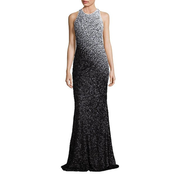 75bf04dfbfc1 Shop Carmen Marc Valvo Sequined Evening Gown Dress Black/White - 8 - Free  Shipping Today - Overstock - 22966387