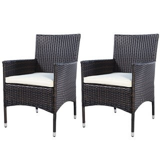 2PC Chairs Outdoor Patio Rattan Wicker Dining Arm Seat With Cushions Part 89