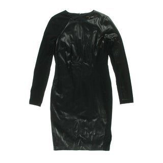Cynthia Steffe Womens Cocktail Dress Faux Leather Ponte - 4