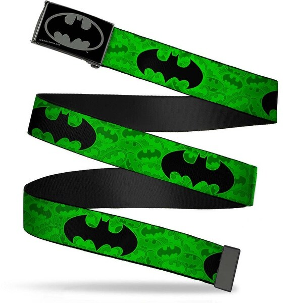 Batman Reverse Brushed Black Silver Black Chrome Bat Signal Glowing Web Belt
