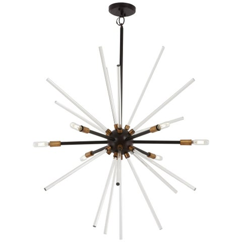 """Kovacs P1793-416 Spiked 6 Light 30-1/2"""" Wide Sputnik Chandelier with Clear Glass - painted bronze/natural brass"""