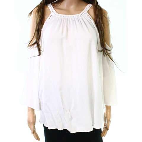 Moa Moa White Women's Size Medium M Cold Shoulder Crochet Top