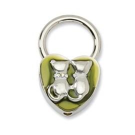 Silvertone Cats w/ Crystals Olive Enamel Key Fob