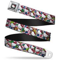Hello Kitty W Red Bow Full Color Black Hello Kitty Count Pink Webbing Seatbelt Belt