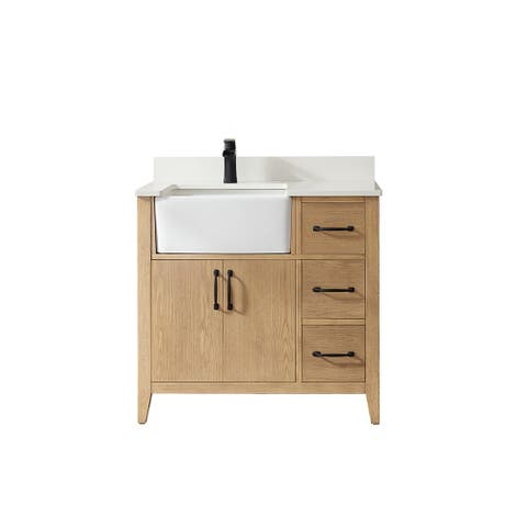 """Sevilla 36"""" Vanity in Washed Ash with Countertop Without Mirror"""