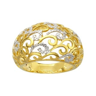 Ring with Gold Woven Design and Diamond Accent in 14K Gold-Plated Sterling Silver