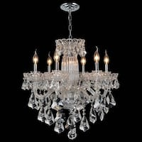 """Worldwide Lighting W83090C25 Olde World 6-Light 1 Tier 25"""" Chrome Chandelier with Clear Crystals"""