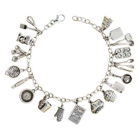 Floriana Women's Cook Charm Bracelet - Sterling Silver Chain and Cooking Charms