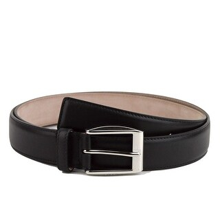 Gucci Men's Black Classic Leather Belt with Silver Buckle 336831 1000