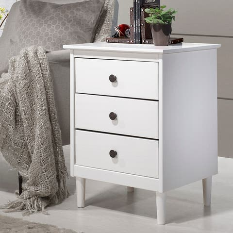 Taylor & Olive Bullrushes 3-drawer Solid Wood Nightstand