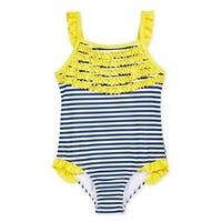 Penelope Mack Baby Girls Yellow Ruffle Trim Stripe One Piece Swimsuit