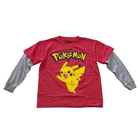 Pokemon Pikachu Officially Licensed Childrens Poke Sleeves Long Sleeve Shirt