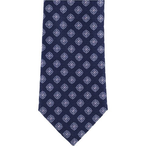 The Men's Store Neck Tie Navy Blue One Size Floral Geo Print Silk