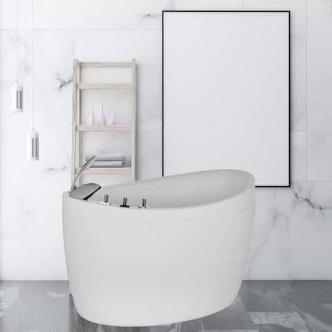 "Japanese Style 59"" X 31"" Acrylic Flatbottom Deep Soaking Freestanding Air Bath Bathtub With 48 Air Jets - Tub Filler"