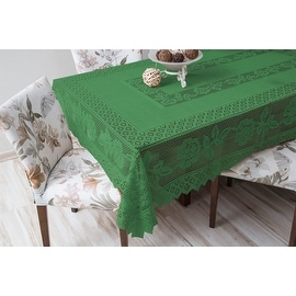 Tablecloth Grega Design Brazilian Lace 59x86 Inches Green Color 100 Percent Polyester