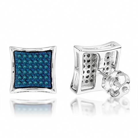 Luxurman Sterling Silver 1/3ct TDW Blue Diamond Stud Earrings (Blue)