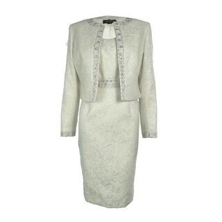 Tahari Women's Beaded Jacquard 2PC Dress Suit