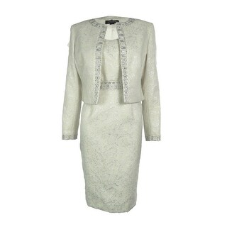Tahari Women's Beaded Jacquard 2PC Dress Suit - Ivory/Silver