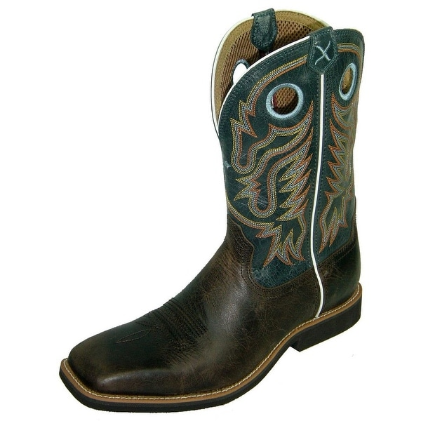 Twisted X Western Boots Mens Cowboy Calf Roper Chocolate Blue