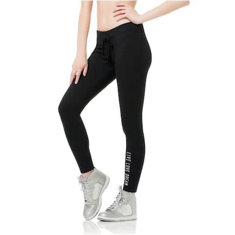 Aeropostale Womens Fleece Legging Athletic Track Pants, black, XX-Small