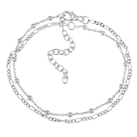 Handmade Stylish Pair Figaro and Beaded Chain Layered Sterling Silver Bracelet (Thailand)