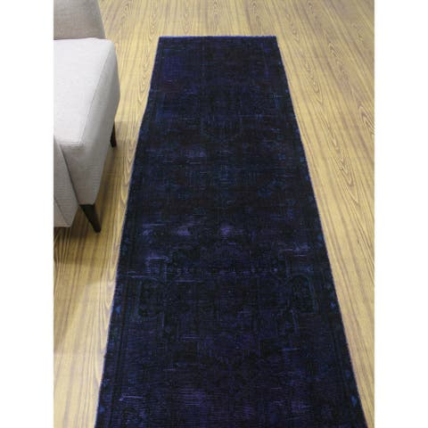 """Noori Rug Vintage Distressed Overdyed Arbab Purple/Brown Runner - 2'7"""" x 9'0"""""""