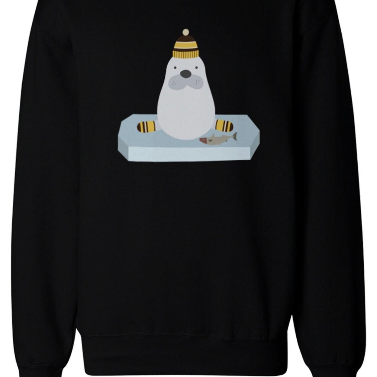 Cute Penguin is Ice Fishing Christmas Sweatshirt Winter Unisex Pullover Fleece