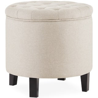 Link to Belleze Button Tufted Storage Ottoman Lift Top Footstool Round, Beige Similar Items in Ottomans & Storage Ottomans
