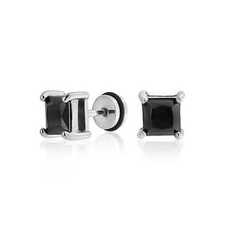 Bling Jewelry Princess Cut Black CZ Ear Plug 316L Steel 16 Gauge