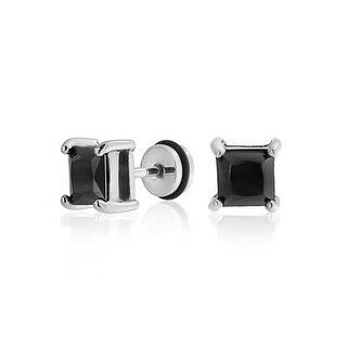 Bling Jewelry Princess Cut Black CZ Ear Plug 316L Steel 16 Gauge