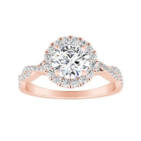 Auriya 14k Gold 1/2ct Round Moissanite Halo Diamond Engagement Ring 1/8ctw