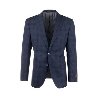 Dolcetto Navy Blue with Black Windowpane Modern Fit, Pure Wool Jacket by Tiglio Luxe 74264/2 (More options available)
