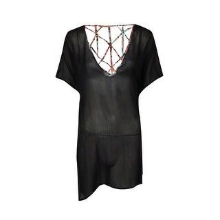 Jessica Simpson Women's Printed-Lattice Back Crepe Swimsuit Cover - Black
