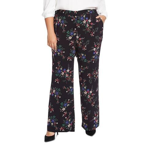 Vince Camuto Womens Plus Country Bouquet Wide Leg Pants Floral Palazzo - Rich Balck