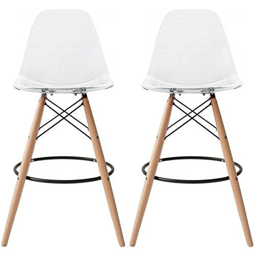 Counter Height Eames : Clear - Eames Chair Style DSW Molded Plastic Modern Barstool Counter ...